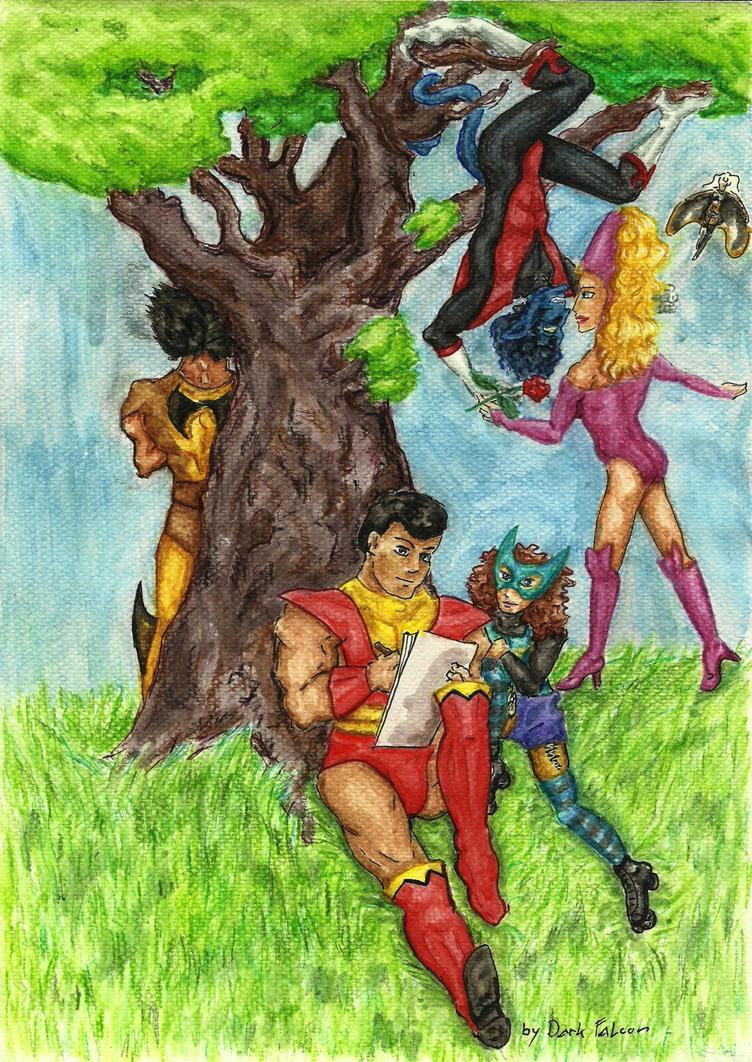 under a tree by DarkFalcon-Z