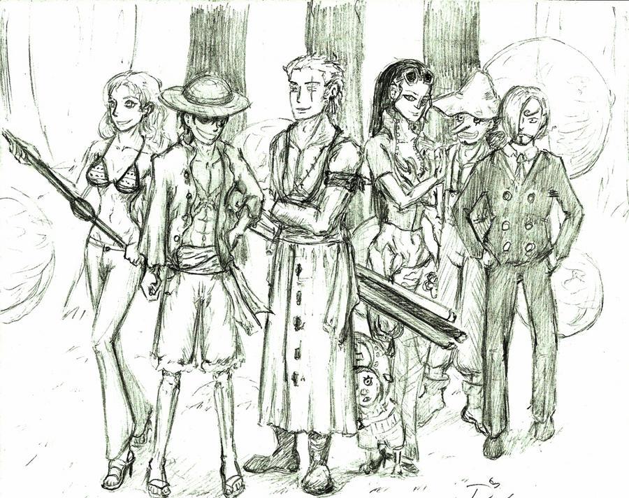 straw hats doodl by DarkFalcon-Z