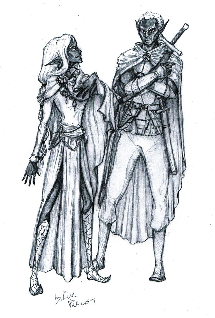 Ryld and Pharaun by DarkFalcon-Z