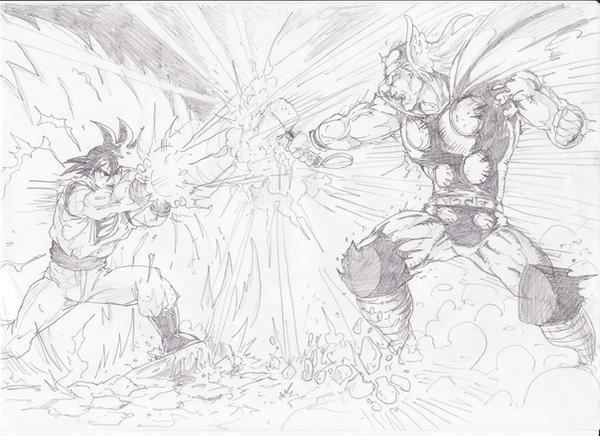 Thor vs Goku by lorkalt
