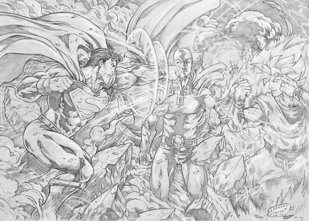 Superman Vs Saitama Goku By Lorkalt