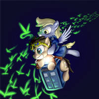 Doctor Whooves and Derpy in beyond space by YKChiropter