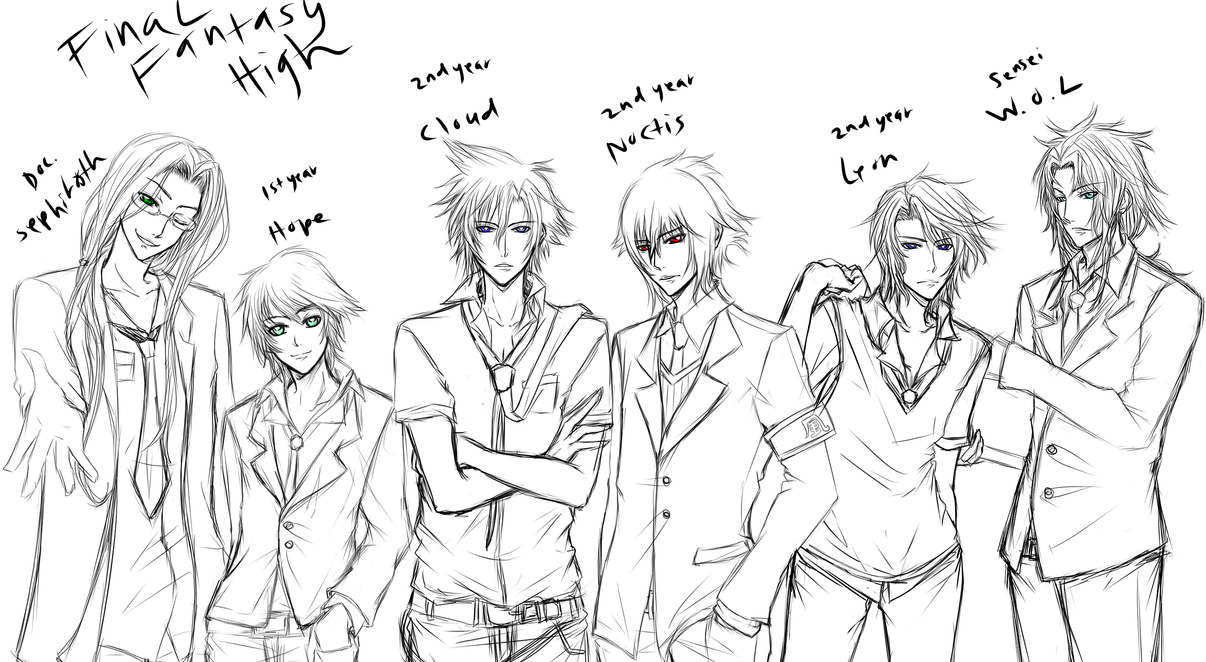 Final fantasy high school by dawntwilight on deviantart for Final fantasy coloring pages