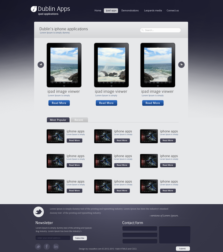 Dublin iPad Apps product page - cssauthor.com by cssauthor on DeviantArt