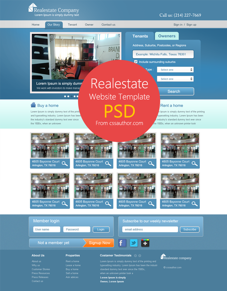Real Estate Website Template PSD for Free Download by cssauthor