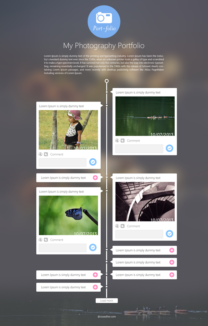 Photography Portfolio Website Template Design PSD by cssauthor on wniK4lHF