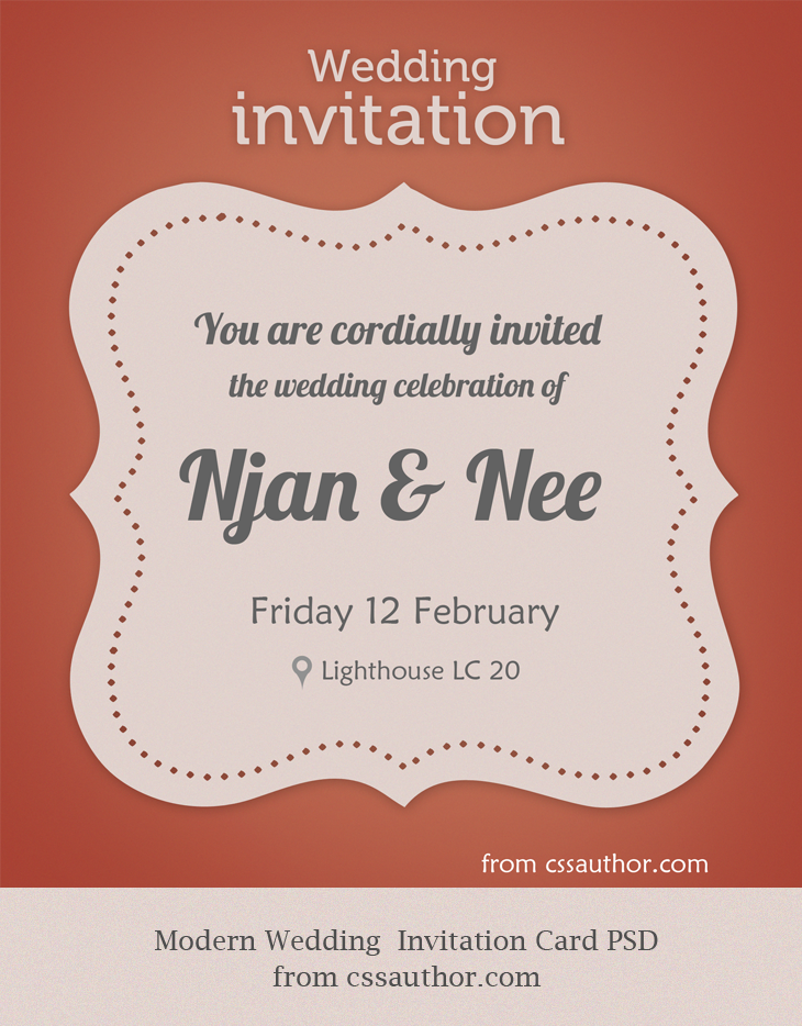 Modern Wedding Invitation Card PSD for Free by cssauthor on DeviantArt
