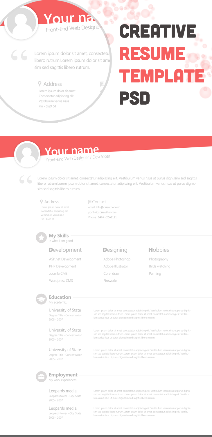 free creative resume template psd cssauthor by cssauthor