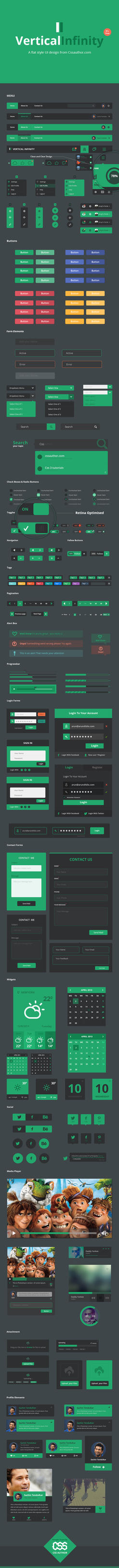 Vertical Infinity - A Mega Flat Style UI Kit PSD by cssauthor