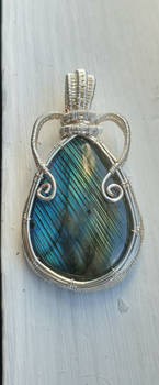 Wild Blue Heart - Wire wrapped Labradorite Pendant