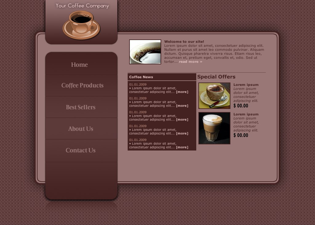 coffee shop web template by r3 slothwasted. Black Bedroom Furniture Sets. Home Design Ideas