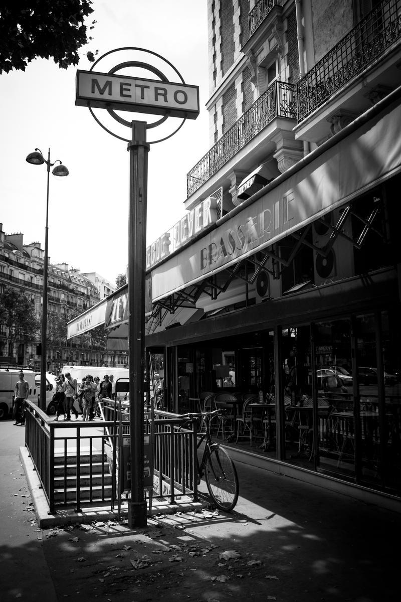 Paris Metro Sign Black N White By Yabbus23
