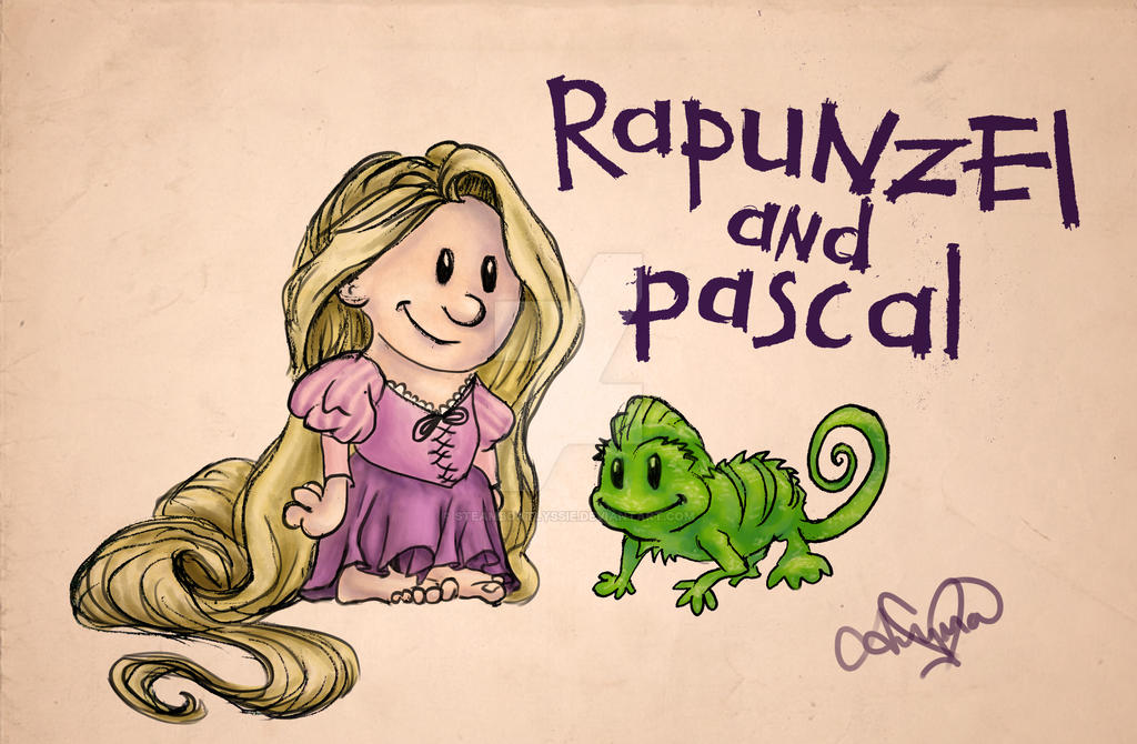 Rapunzel and Pascal by SteamboatLyssie