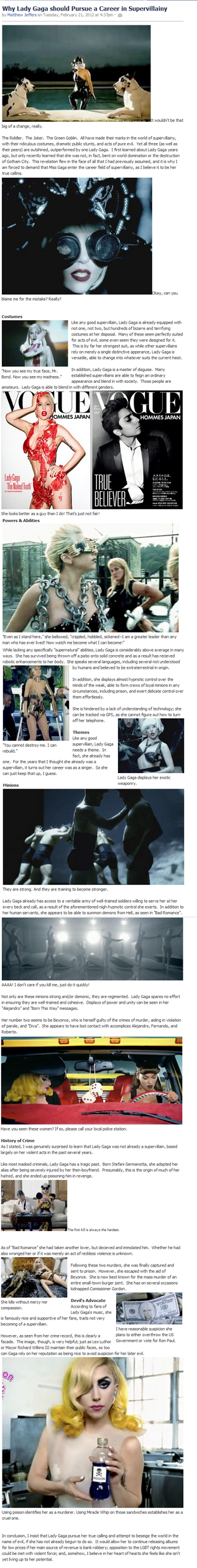 Why Lady Gaga should become a Supervillain by Patameth