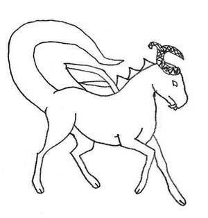 Prancing Dragon Male Sketch
