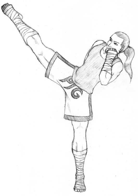 muay thai coloring pages | Muay Thai Roundhouse Kick Sketch Coloring Page
