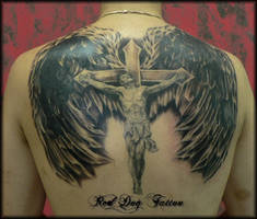Jesus Back tattoo by Reddogtattoo
