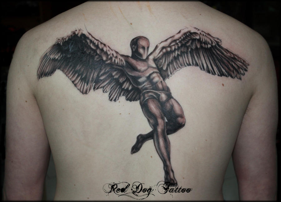 Gary's Angel Back Tattoo by Reddogtattoo