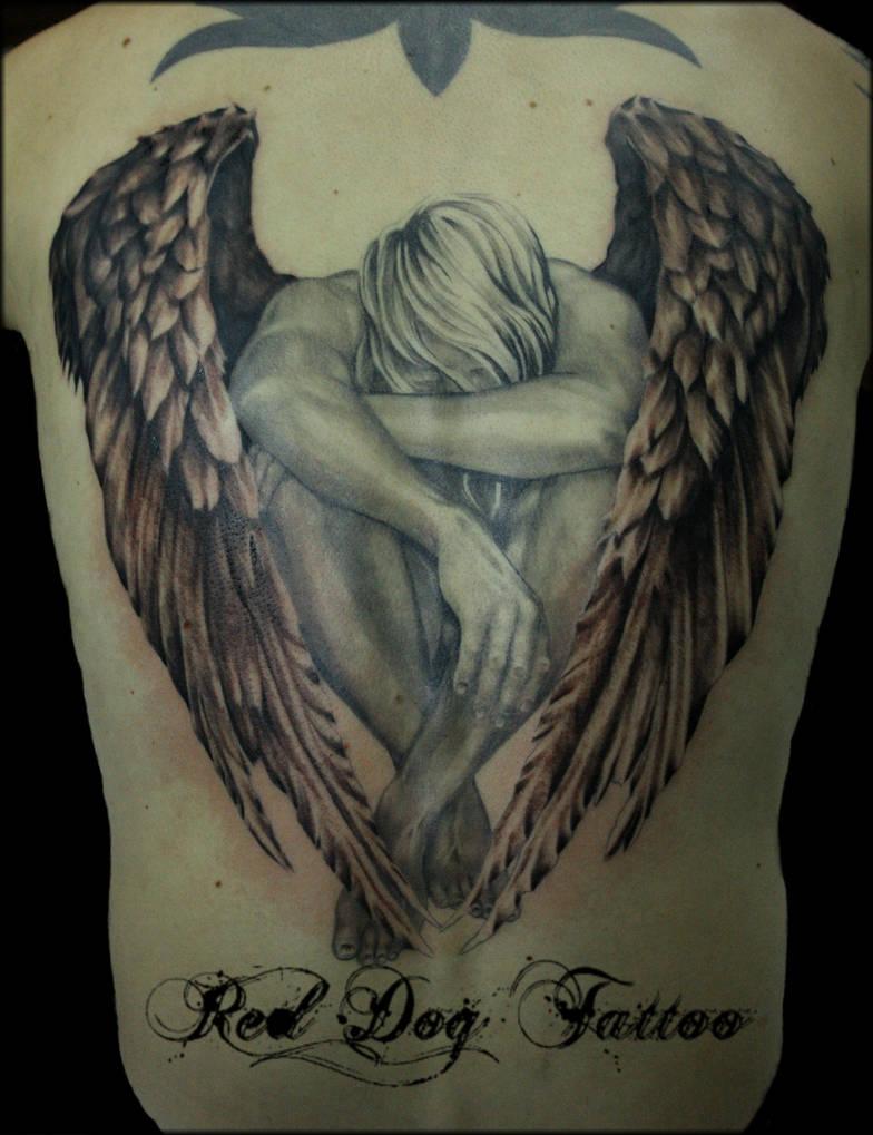 Back angel by Reddogtattoo