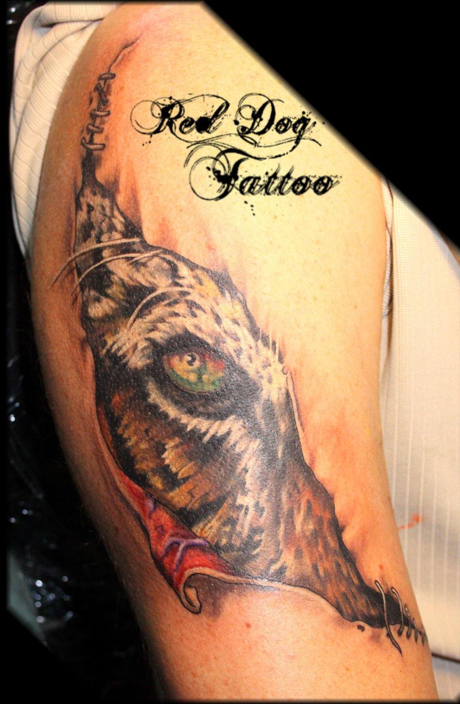 Johns tiger tattoo by reddogtattoo on deviantart for Under the skin tattoo