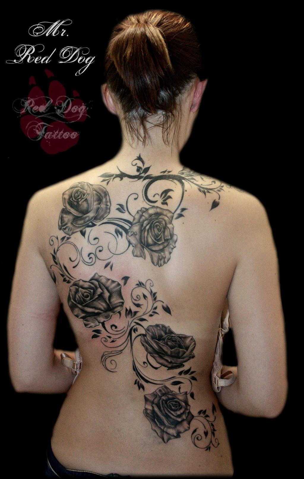 Roses by reddogtattoo on deviantart for Full lower back tattoos