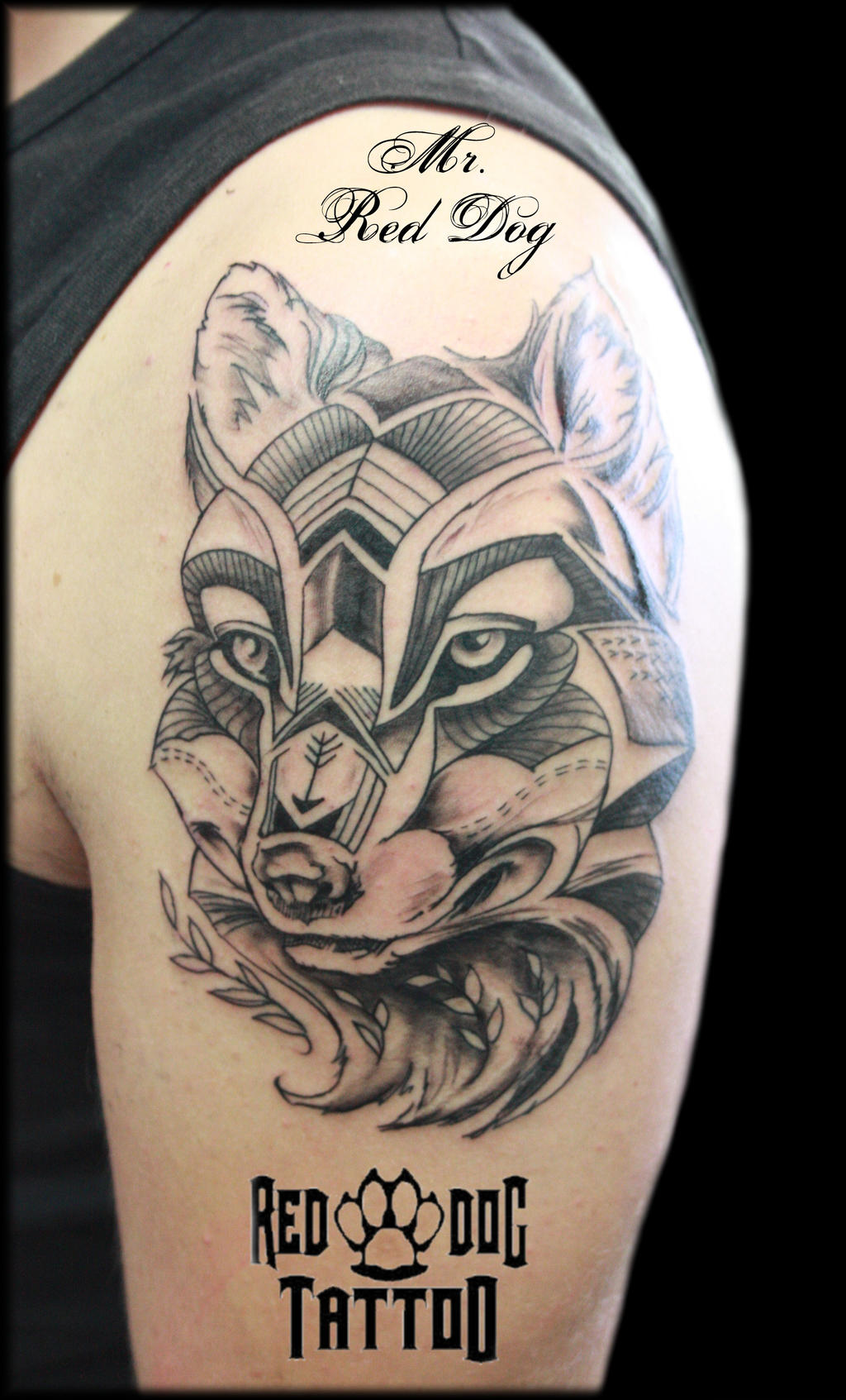 Linework wolf by reddogtattoo on deviantart for Red wolf tattoo