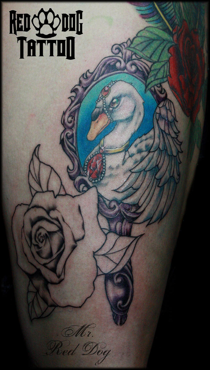 Neo Traditional Swan by Reddogtattoo