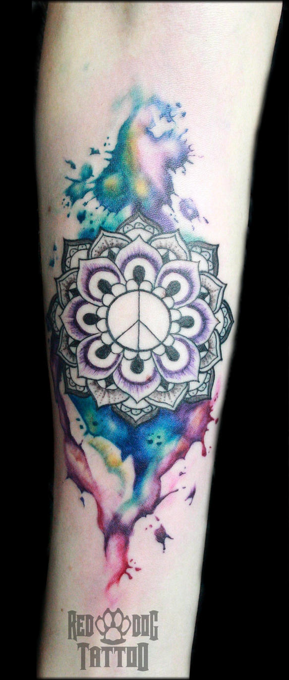 Mandala with watercolors by Reddogtattoo
