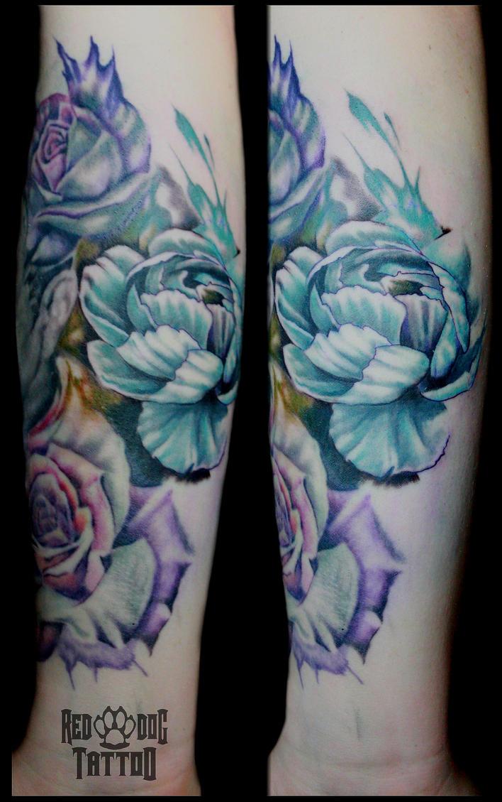 Watercolor Peony Tattoo by Reddogtattoo