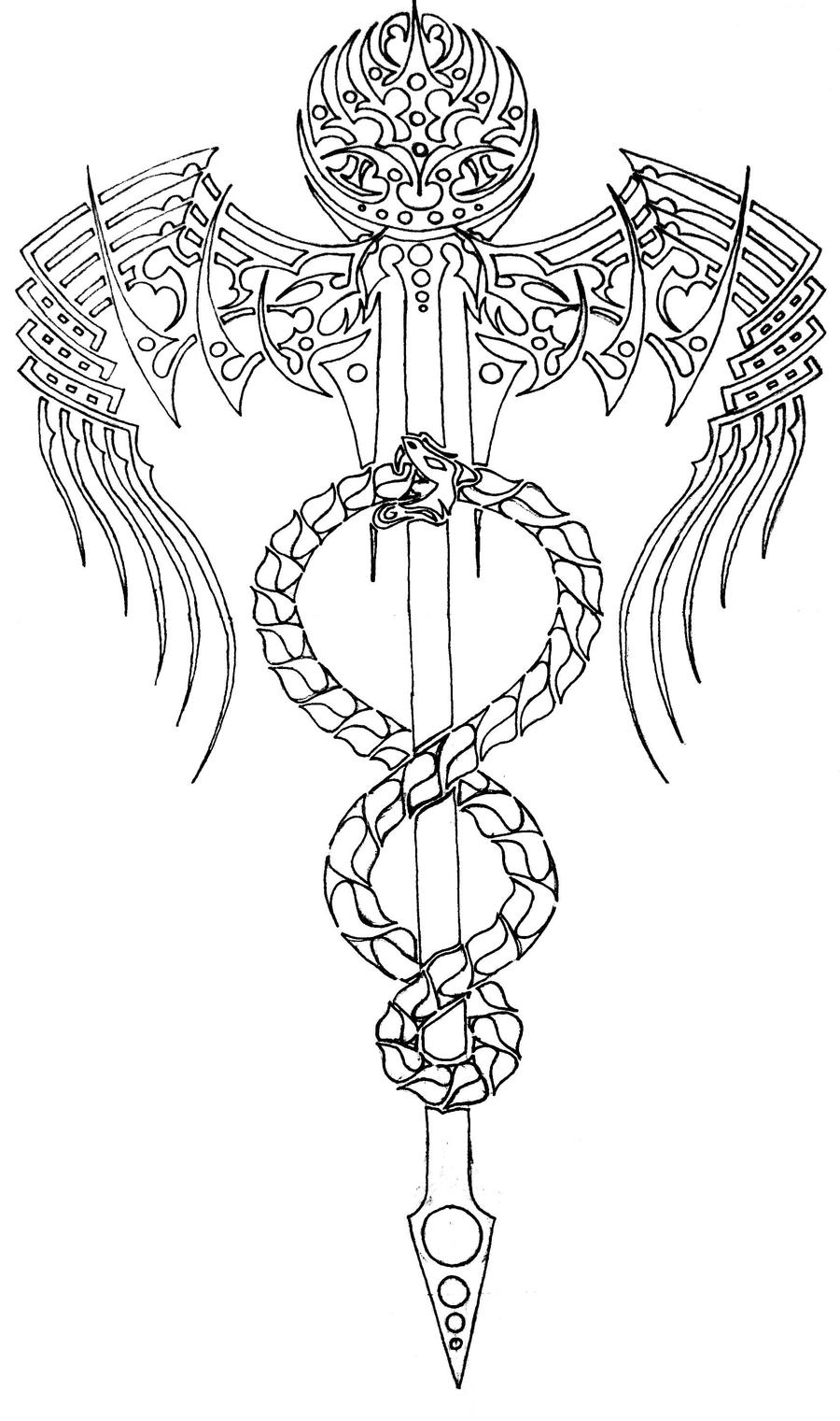 Tribal Staff of Hermes Outline by thecrimsonseas on DeviantArt - photo#2