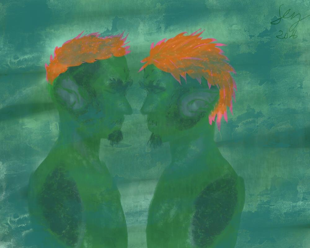 Sylvari Pod Twins - Aranwen and Iohvar by Feena-c