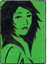 Green Girl stencil slap by K12RES