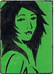 Green Girl stencil slap