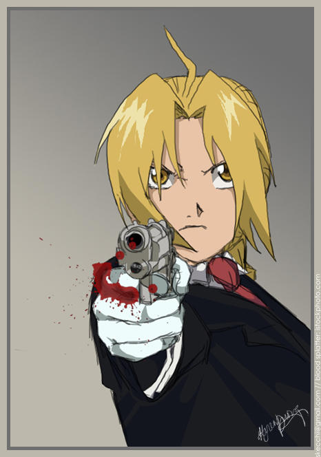 Edward elric pointe une arme