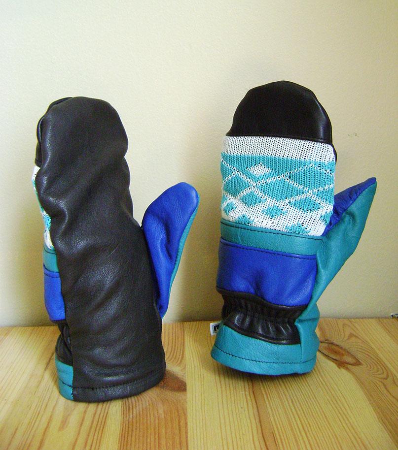Mitaines en cuir recycles turquoise, bleu et noir by Emillye