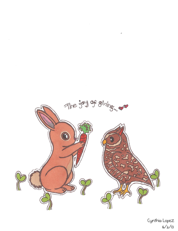 Bunny and Owl by StrawberrieMew