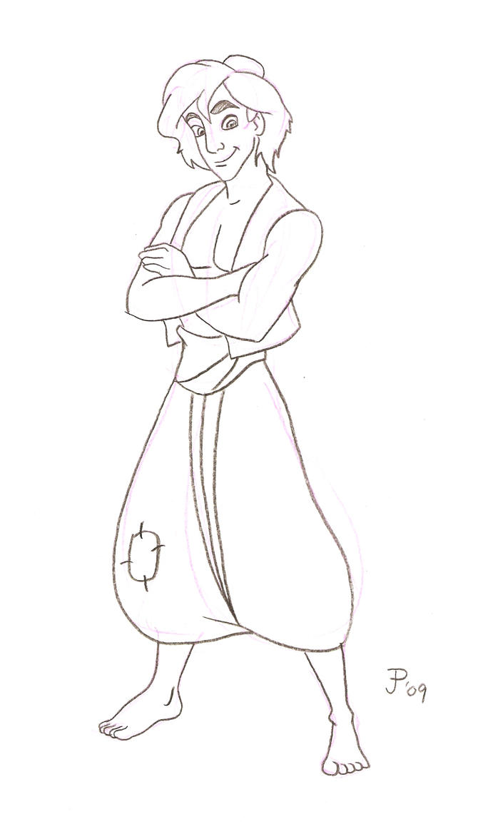 Aladdin pencil drawing