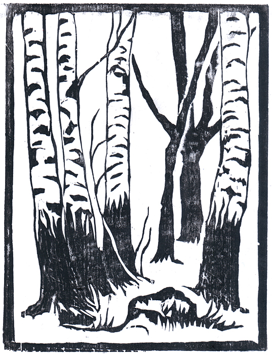 Birch trees, woodcut by Gregory Avoyan