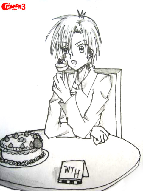 Natsume eats a cake by crimsonfire3