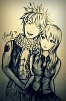 Natsu X Lucy - Fairy Tail (FanArt Sketch) by Lykie-chan
