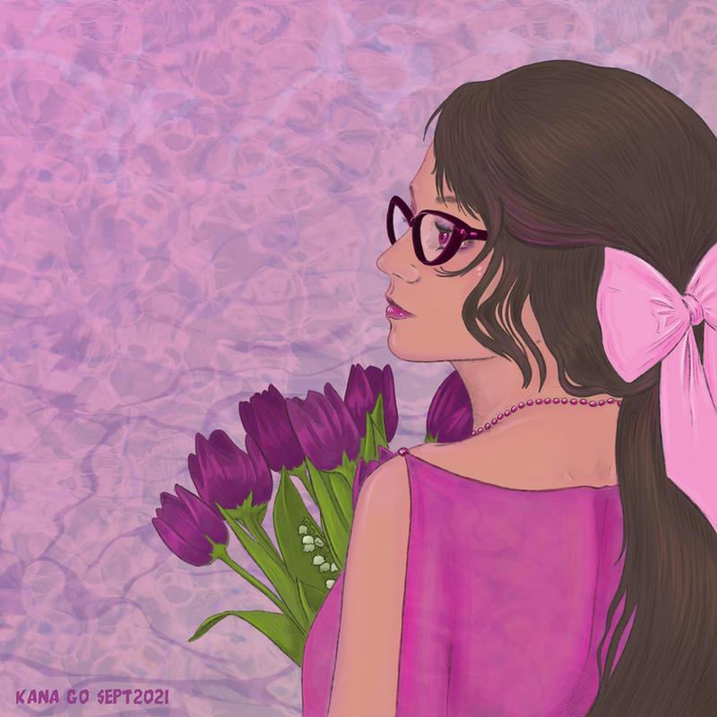 Girl with Purple Tulips