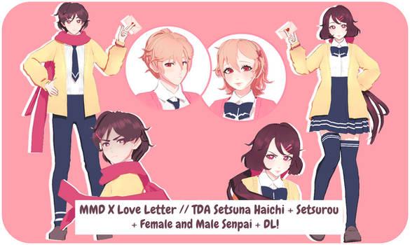 MMD X LL // TDA Setsuna + Setsurou + Senpai DL!