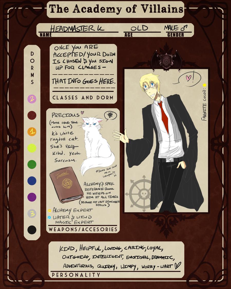 Character Design Sheet Example - Headmaster K by kikikittykat