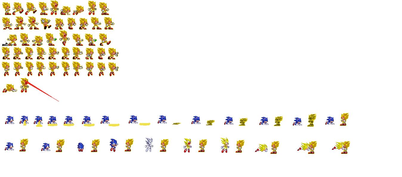 Fleetway Supersonic Sprites: Fleetway Super Sonic/ Dark