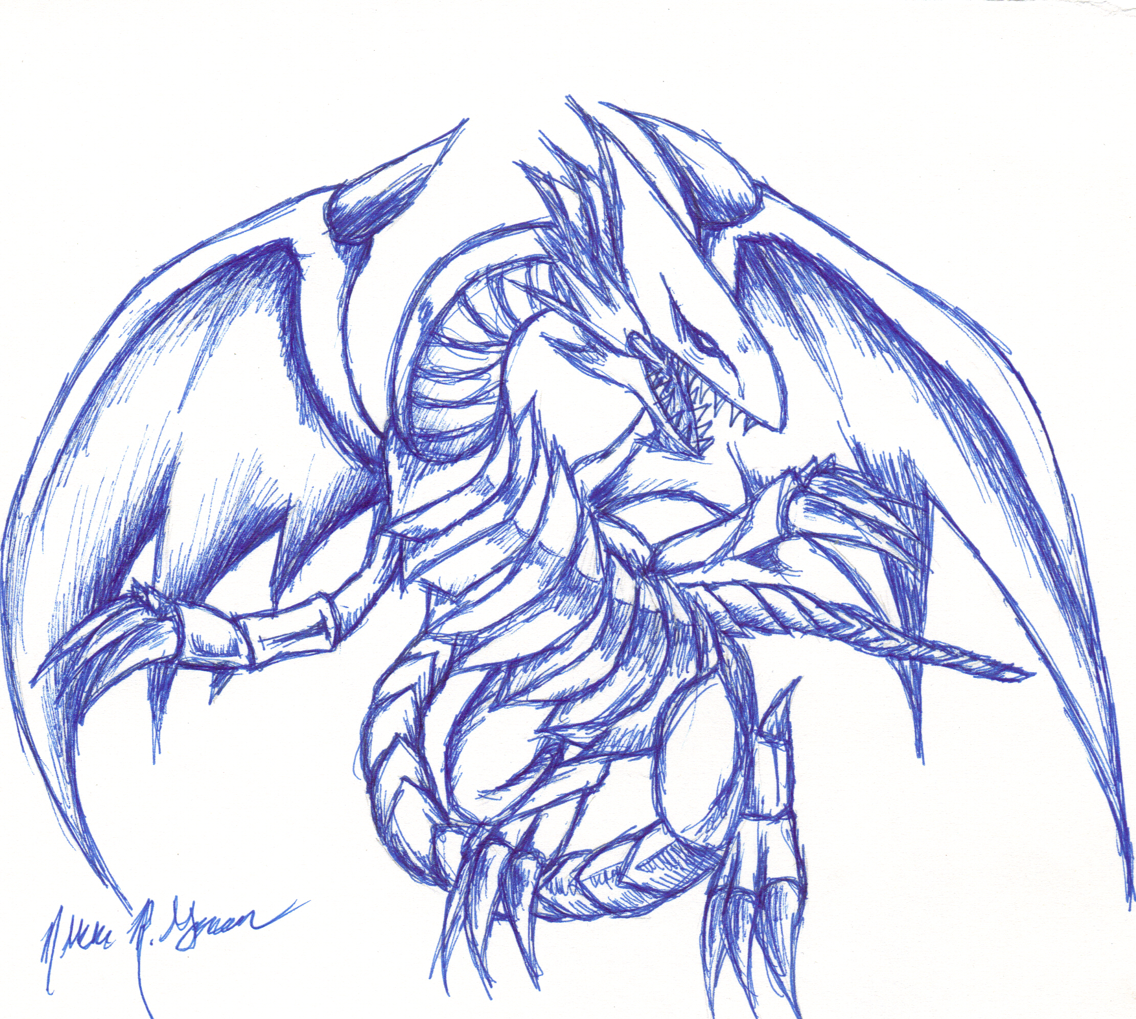blue eyes white dragon by takabi tenshi on deviantart