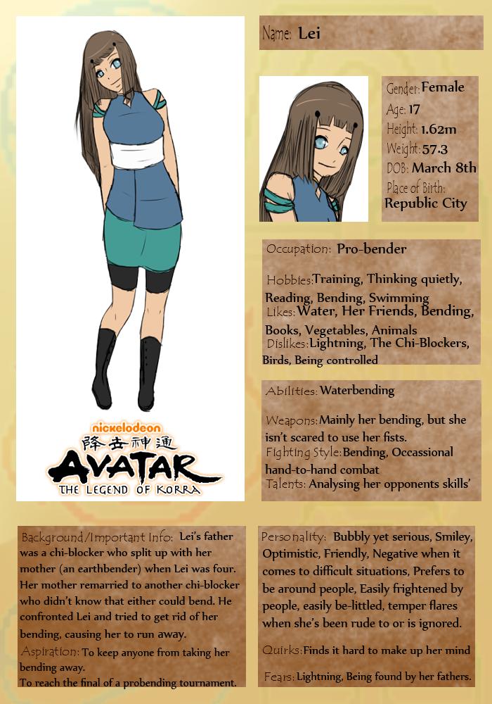 Avatar the legend of Korra OC: Lei by SilentTomorrowx