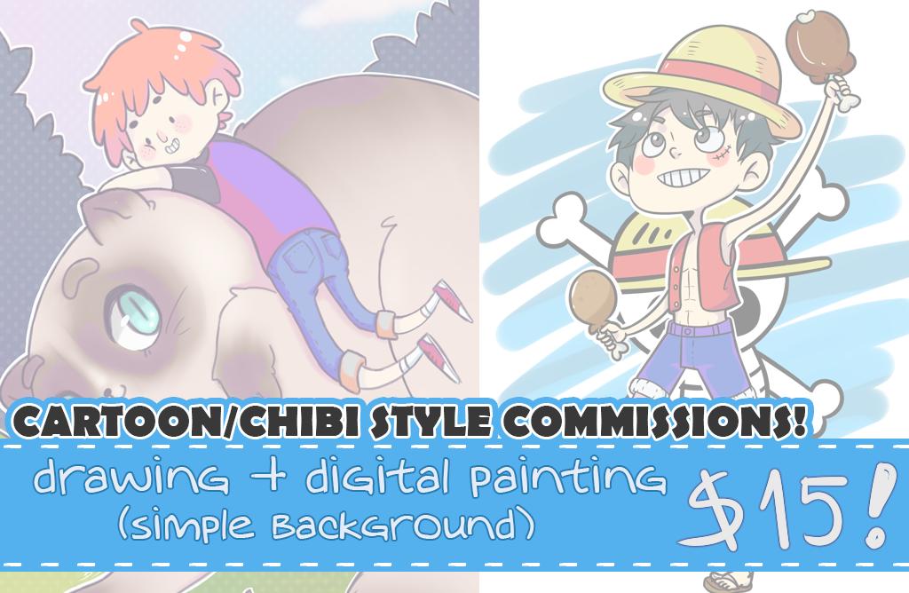 Cartoon/Chibi Commissions! by satoo-yuki