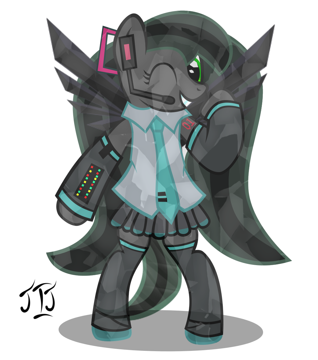 Hatsune Obsidiku (Mlp style) Vocaloid by Hornet-of-Hallownest