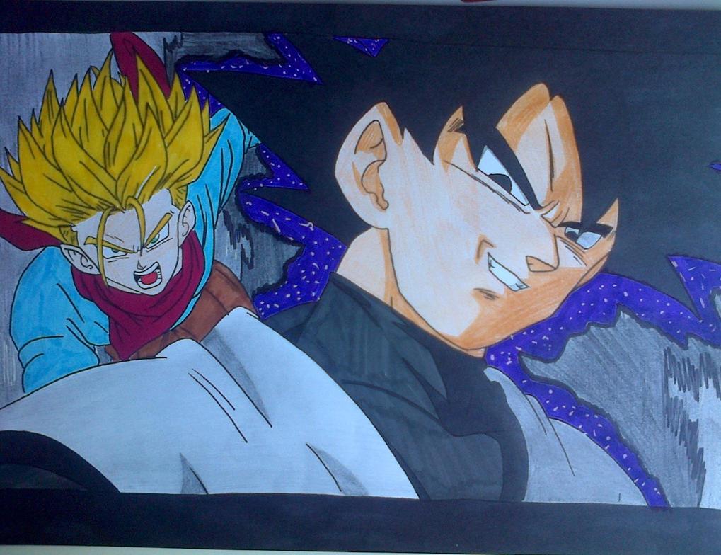 Black Goku and Trunks by Daisuke-Dragneel