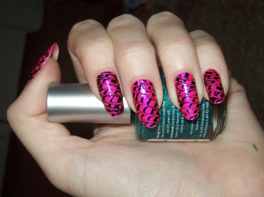 Pink and black pin marbled by jenna-daydreamer93